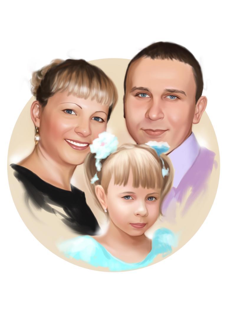 Семейный портрет по фото на холсте в Нижнем Новгороде — правильный подарок!